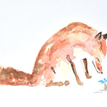 Watercolor Fox Painting – Original Watercolor Art, Unmounted, Nursery Art, Wall Decor,  Home decor, Animal paintings - by MABartStudio