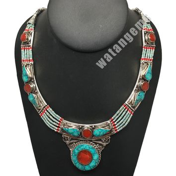 Ethnic Tribal Nepalese tribal Green Turquoise & Red Coral Inlay Necklace, E260