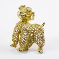 Gold Tone Sterling Silver Filigree Dog Brooch Signed Sterling Germany, Vintage 1960s 1970s Poodle or Schnauzer Pin Mid Century European
