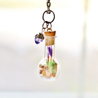 Terrarium Necklace Woodland Nature Jewelry Pinecones, Purple Forget Me Not Flowers, Moss and Crystal