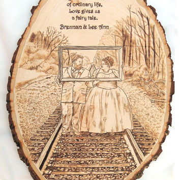 Custom Wedding Portrait Pyrography Wood Burned Plaque