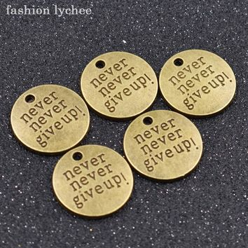 fashion lychee 5pcs Motivational Words Live Your Dream Love Drop Pendant For Necklace