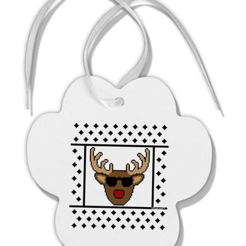 Cool Rudolph Sweater Paw Print Shaped Ornament