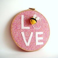 Bee Love nursery Wall Decor Summer  Hoop Art journey
