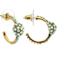 Mint Gem Paved Gold Tone Droplet Hoop Earrings