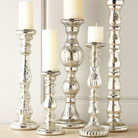 Five Mercury-Glass Spindle Candleholders
