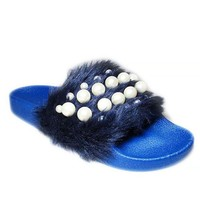 DCCKNY1 Women Fashion Faux Fur Cozy Slipper With Pearl Stud Shoes ME3087