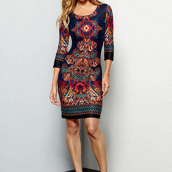 Colleen Printed Sweater Knit Dress