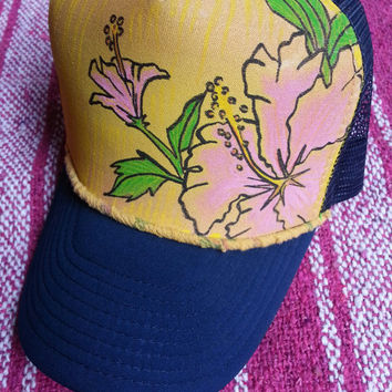 Handpainted Hawaiian Flower Trucker Hat - Adult - comes with bag
