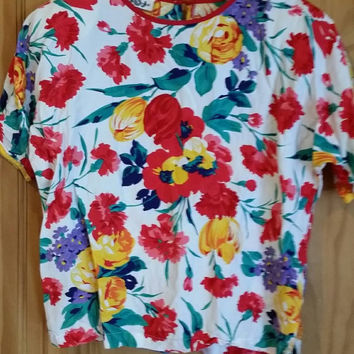 Vintage 80s floral short sleeve shoulder pad top blouse size medium