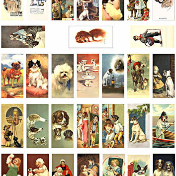 dogs puppies 1 x 2 inch domino collage sheet printable clip art digital download vintage dog images pendants magnets key chains jewelry