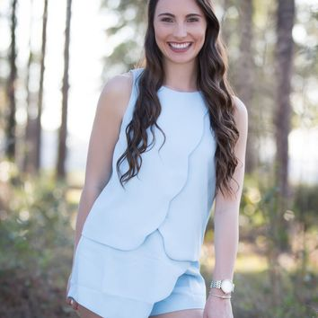 Get Carried Away Top - Baby Blue