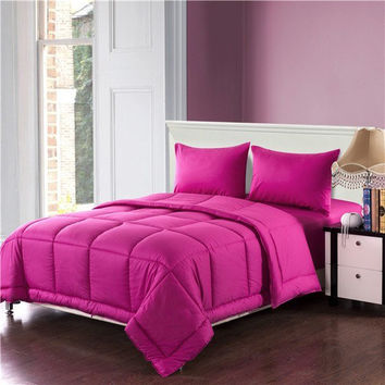 Tache 3-4 Piece Cotton Solid Hot Pink Box Stitched Comforter Set, Cal King, King
