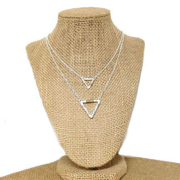 Silver and gold triangle wire wrapped double necklace, silver double layer triangle pendant necklace, gold wire wrapped, pendant, gift