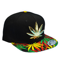 * Metal Weed and Weed Patterned Bill Snapback Cap In Black
