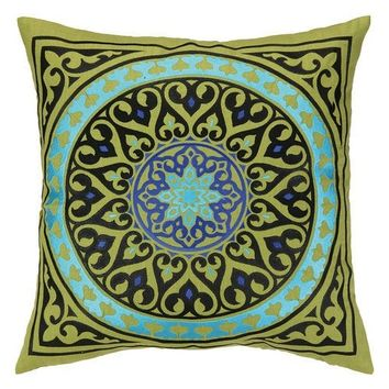 Mora Green Medallion Embroidered Pillow