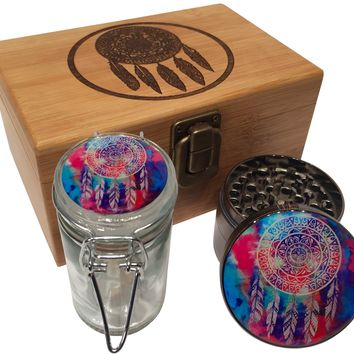 "Dreamcatcher Wood Stash Box Combo - Large 4 Part Herb Grinder 2.5"" with pollen catcher  - Stash jar - Engraved Wood Box"
