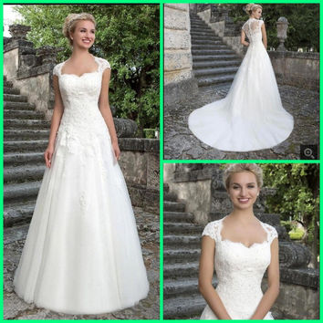 Robe de Mariee 2016 Romantic A Line Wedding Dress with Lace Elegant Cap Sleeve A Line Bridal Dresses Vestidos de Novia