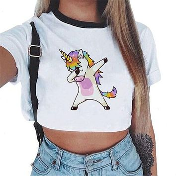 2018 harajuku funny Unicorn T shirt Women tops Kawaii Unicornio T-shirt Female Summer Crop Top Tshirt licorne Sexy Tees Cropped