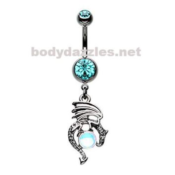 Black Mother of Dragons Belly Button Ring Navel Ring  14ga