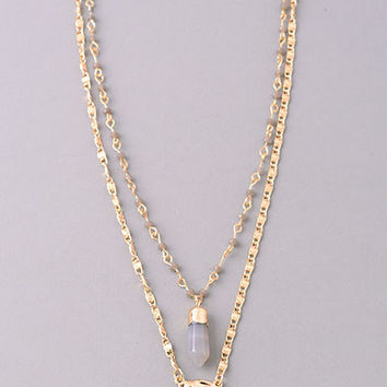 Double Layer Crystal and Dimpled Arrowhead Necklace - Gold