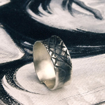 Mens Rustic oxidized Silver ring imprinted organic pattern Groom's Ring Black silver Band Ring size 9 Handmade France Etsy Menno