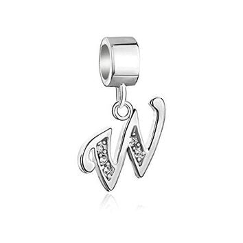 LovelyJewelry Sterling Silver Alphabet Beads AZ Letter Initial Spacer Dangle Clear Synthetic Crystal Charm For Bracelet