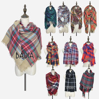 Tartan Oversize Scarf Shawl Grid Check Women Bandana New Designer Acrylic Plaid Blanket Scarves
