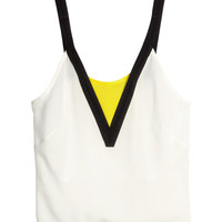 H&M - Tank Top in Woven Fabric - White - Ladies
