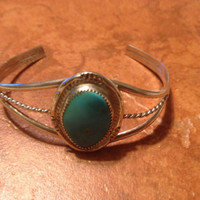 Vintage Sterling Silver Turquoise Bracelet Cuff Native American