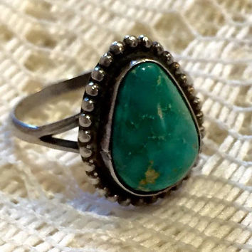 Vintage Sterling Silver with Turquoise Ring Size 7 1/4