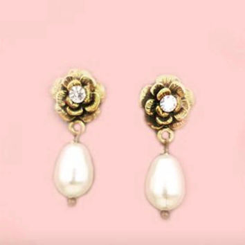 Swarovski Pearl Earrings Vintage Style Bridal Jewelry Tear Drop Pearl and Crystal Antique Gold Earrings Rose Wedding Bridesmaid Flowers