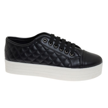Cyber06 Black By Breckelle's, leatherette flatform lace up quilted sneaker w rubber platform