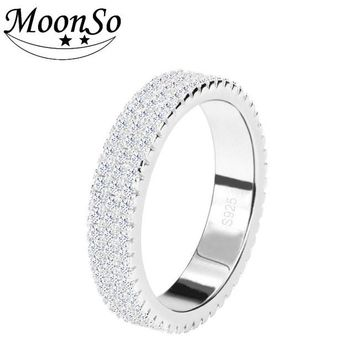 Moonso 925 Sterling Silver Rings Personalized Ring Bands Class Ring Wedding Band For Women Wedding Engagement Jewelry R721