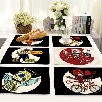 42*32cm Punk Style Cartoon Skull Zombies Printed Table Mat Coffee Tea Coaster Rectangle Cotton Linen Placemat