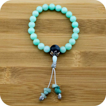 Amazonite Buddhist Mala Bracelet with Sodalite