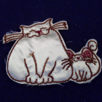 Vintage Sew On Patch Cat and Mouse 1970s