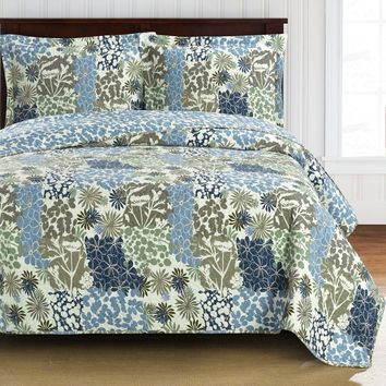 Elena Over-Sized Coverlet set, Luxury Microfiber Printed Quilt by Royal Hotel