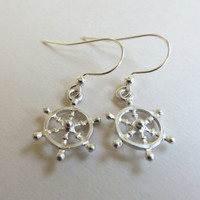 Silver  Wheel Earrings. Ship Wheel Earrings. Silver Helm Earrings. Nautical Earrings.
