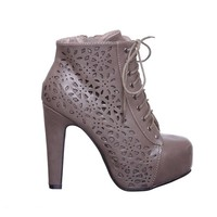 Lace up Platform Ankle Round Toe Bootie (5, black01B) [Apparel]