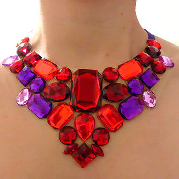 Royal Purple and Red Queen of Hearts Rhinestone Statement Necklace
