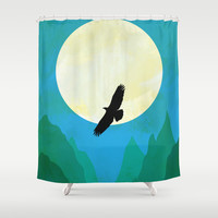 Minimalist hawk Shower Curtain by Tony Vazquez