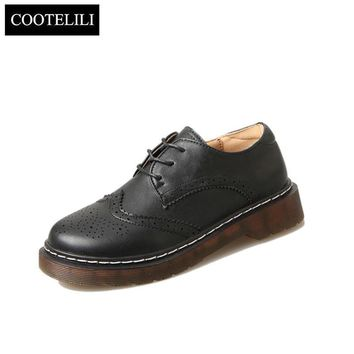 COOTELILI 35-40 Plus Size Spring Casual Flats Women Shoes Lace-Up Concise Carved Oxfor