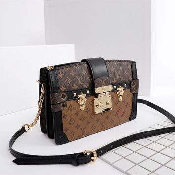 DCCK 1578 Louis Vuitton LV Nicolas Ghesquiere Monogram Reverse Canvas Malletage Parint Trunk Handbag