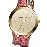 Michael Kors - Slim Runway Goldtone Stainless Steel & Python-Embossed Leather Double-Wrap Watch - Saks Fifth Avenue Mobile