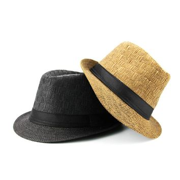 Brand Sun Hats For Men Casual Trilby Straw Panama Cap Men Beach Straw Hat Summer Jazz  Bucket Hat For Male Visor Gangster Cap