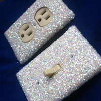 Snow White Frost Glitter Switchplate / Outlet Cover by ArtZodiac