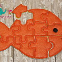 Felt fish puzzle embroidered embroidery jigsaw puzzle, learning toy, activity, quiet game, kids toys montessori, homeschool, busy book