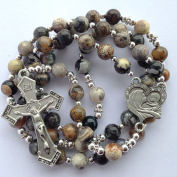 Silver Leaf Rosary, Catholic Rosary, Baby Jesus, Silver Leaf Beads, Catholic Gift, Natural Stone Rosary, Catholic Prayer Beads