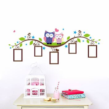 DIY Owls Photo Frame Wall Decal